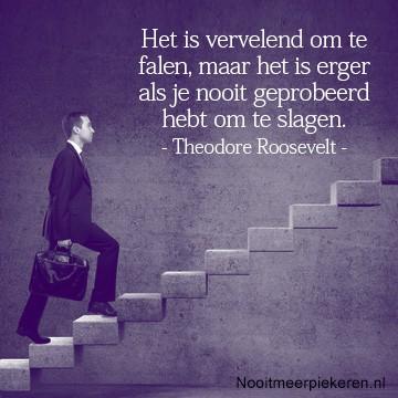 Nooitmeerpiekeren.nl - Het is vervelend om te falen, maar het is erger als je nooit geprobeerd hebt om te slagen. Theodore Roosevelt